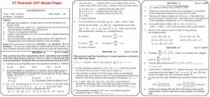 IIT Ramaiah SAT Model Paper - Maths