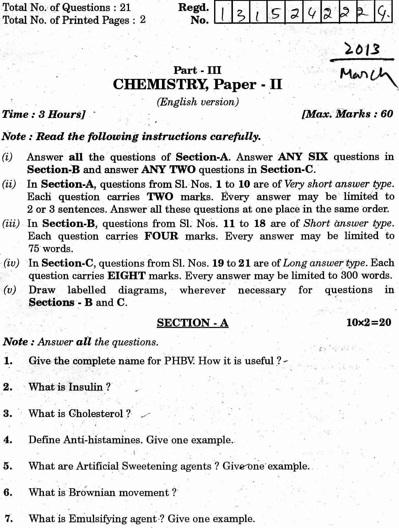physical chemistry essay questions The five major branches of chemistry are organic, inorganic, analytical, physical,  and biochemistry these divide into many sub-branches.