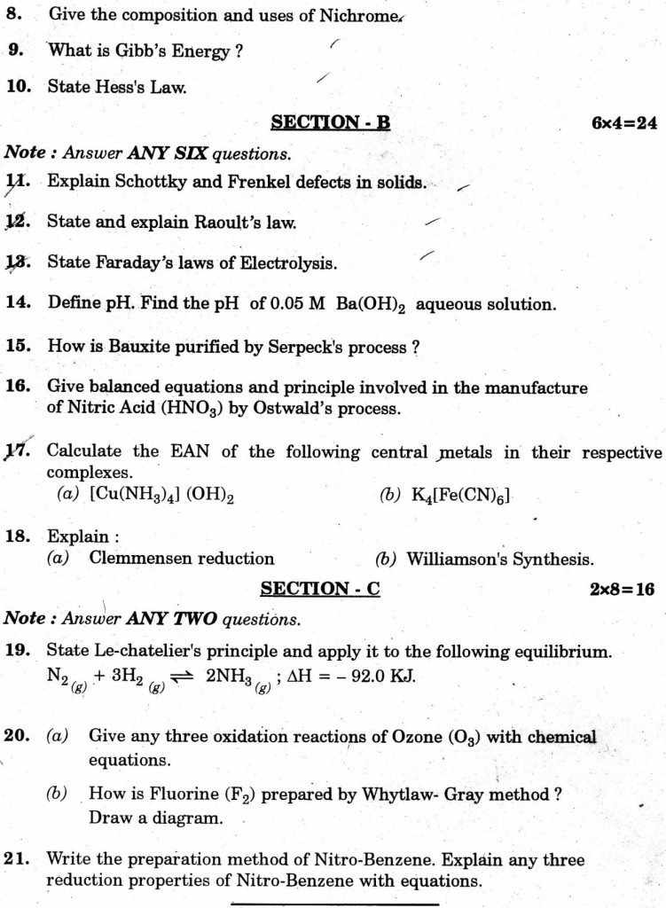 Inter Chemistry Question Paper 2013