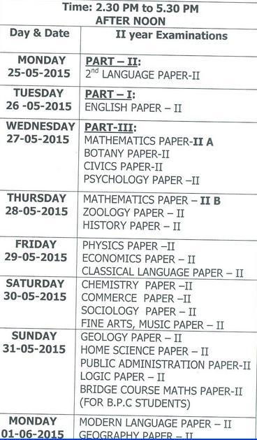 Polytechnic exam date 2015 telangana